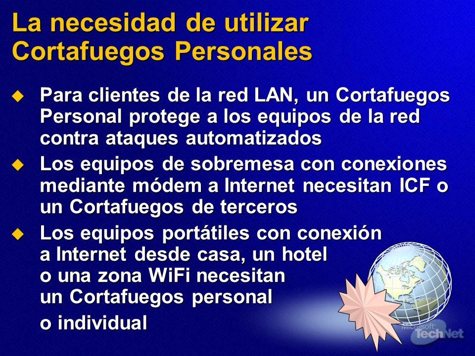 Para clientes de la red LAN, un Cortafuegos Personal protege a los equipos de la red contra ataques automatizados Para clientes de la red LAN, un Cort