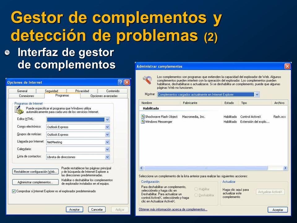 Interfaz de gestor de complementos Gestor de complementos y detección de problemas (2)