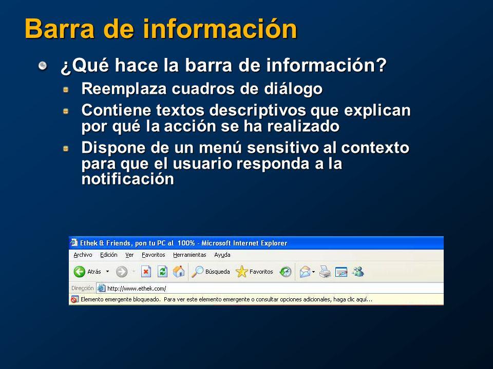 Barra de información ¿Qué hace la barra de información.