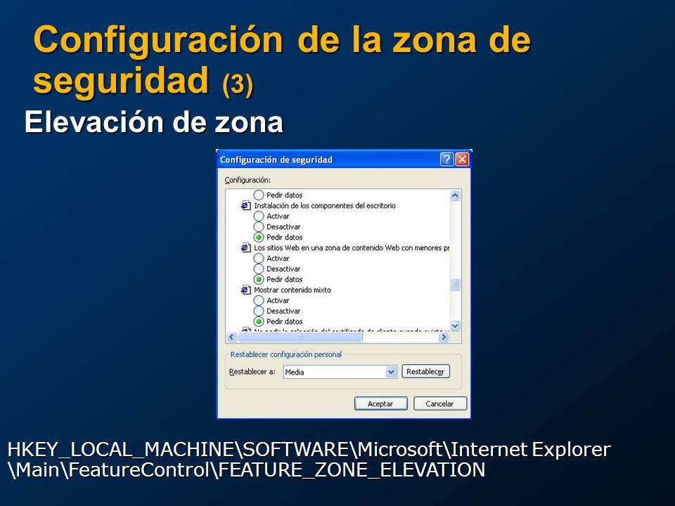 Configuración de la zona de seguridad (3) Elevación de zona The following table lists the default values for the URLACTION_FEATURE_MIME_SNIFFING flag in each security zone.