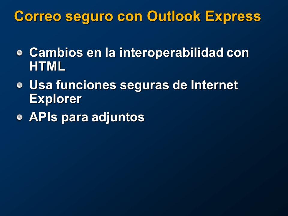 Correo seguro con Outlook Express Cambios en la interoperabilidad con HTML Usa funciones seguras de Internet Explorer APIs para adjuntos