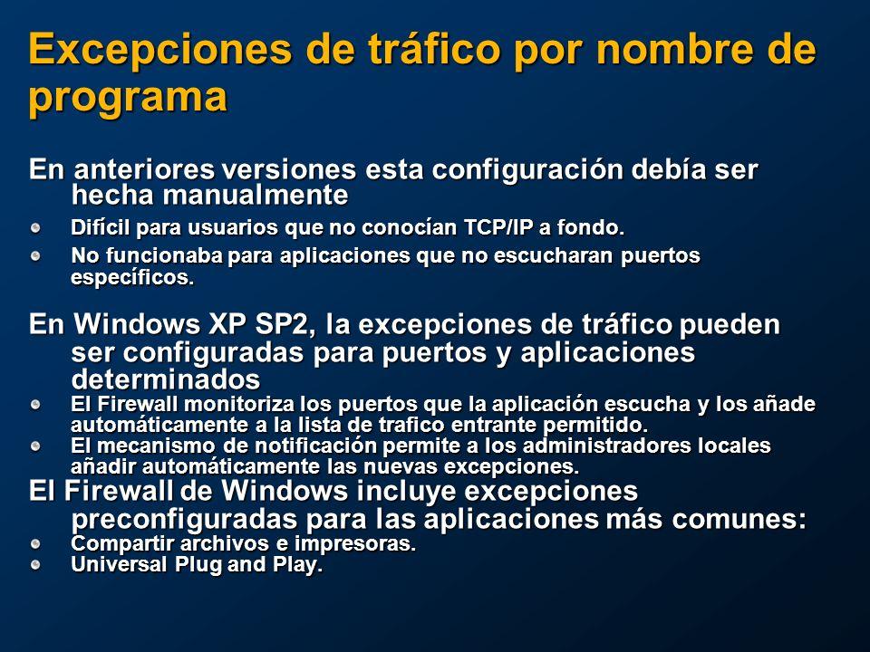 Excepciones de tráfico por nombre de programa En anteriores versiones esta configuración debía ser hecha manualmente Difícil para usuarios que no conocían TCP/IP a fondo.