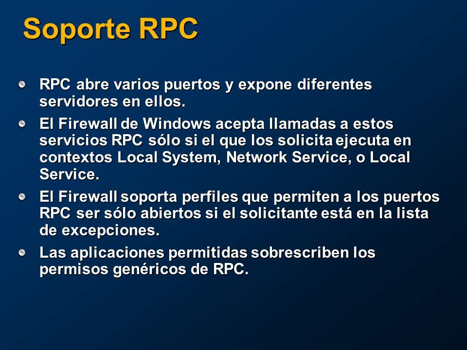 Soporte RPC RPC abre varios puertos y expone diferentes servidores en ellos.