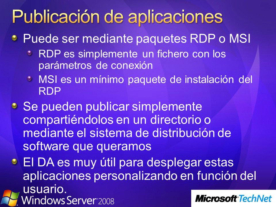 Puede ser mediante paquetes RDP o MSI RDP es simplemente un fichero con los parámetros de conexión MSI es un mínimo paquete de instalación del RDP Se