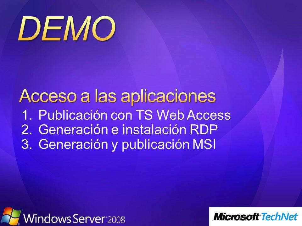 1.Publicación con TS Web Access 2.Generación e instalación RDP 3.Generación y publicación MSI