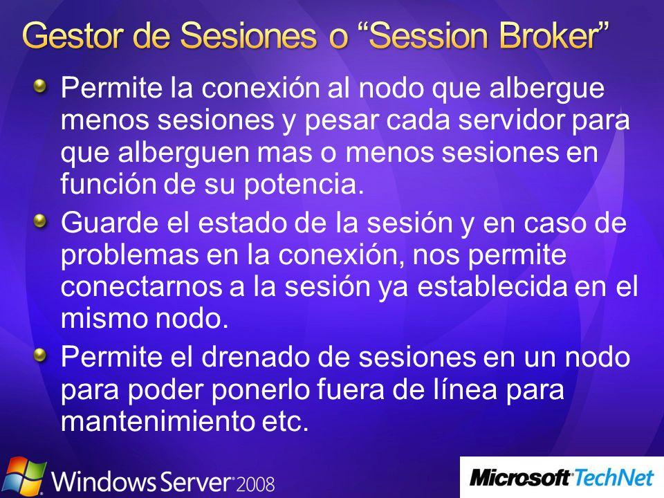 Permite la conexión al nodo que albergue menos sesiones y pesar cada servidor para que alberguen mas o menos sesiones en función de su potencia. Guard