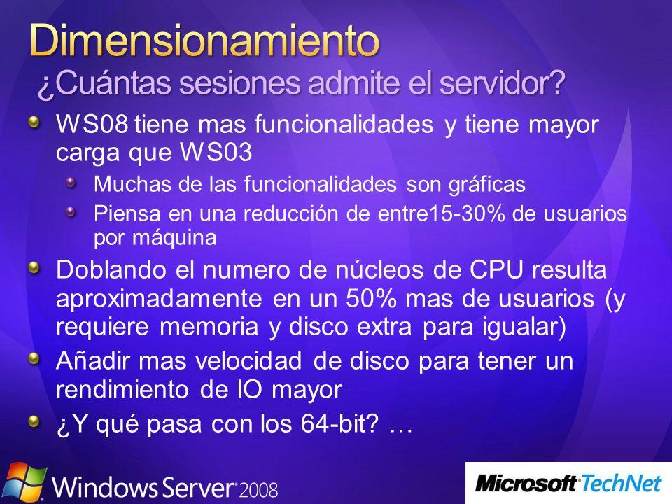 WS08 tiene mas funcionalidades y tiene mayor carga que WS03 Muchas de las funcionalidades son gráficas Piensa en una reducción de entre15-30% de usuar