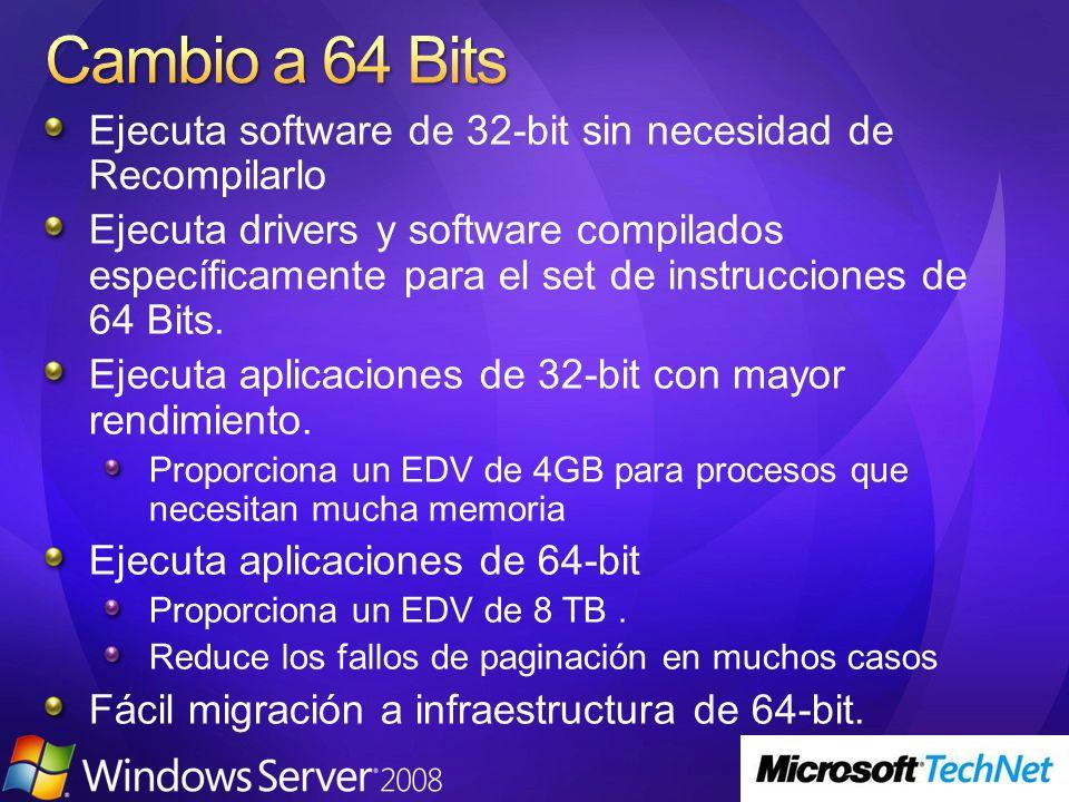 Ejecuta software de 32-bit sin necesidad de Recompilarlo Ejecuta drivers y software compilados específicamente para el set de instrucciones de 64 Bits