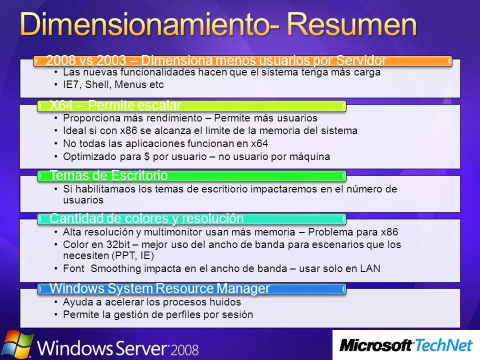 Las nuevas funcionalidades hacen que el sistema tenga más carga IE7, Shell, Menus etc 2008 vs 2003 – Dimensiona menos usuarios por Servidor Proporcion