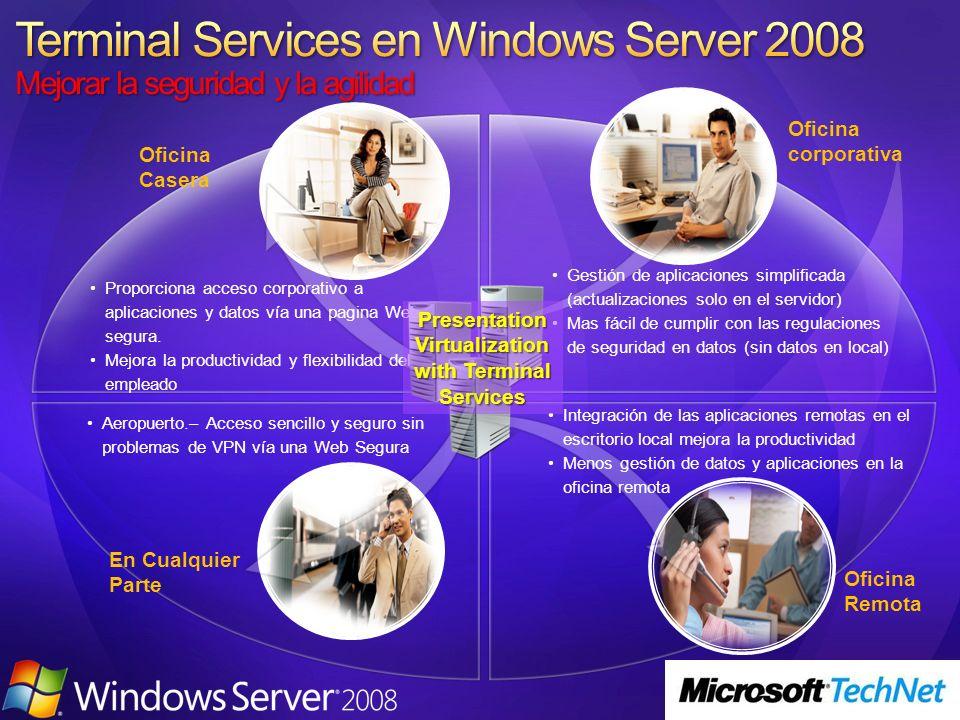 Terminal Server Windows Server 2008 1 Windows Server 2008 2 11 22 33 44 55 66 112233445566 El Usuario Remoto Conecta via Terminal Services TS: El Servidor 1 contacta con el Session Broker para determinar donde ha de iniciar sesión el usuario Session Broker indica al Servidor 1 que este usuario no tiene sesión y que el Servidor 2 tiene menos carga El Servidor 1 indica al cliente vía RDP que ha de redirigirse al Servidor 2 El Cliente es redirigido al Servidor 2 Se Crea la Sesión en el Servidor 2 para el cliente Session Broker