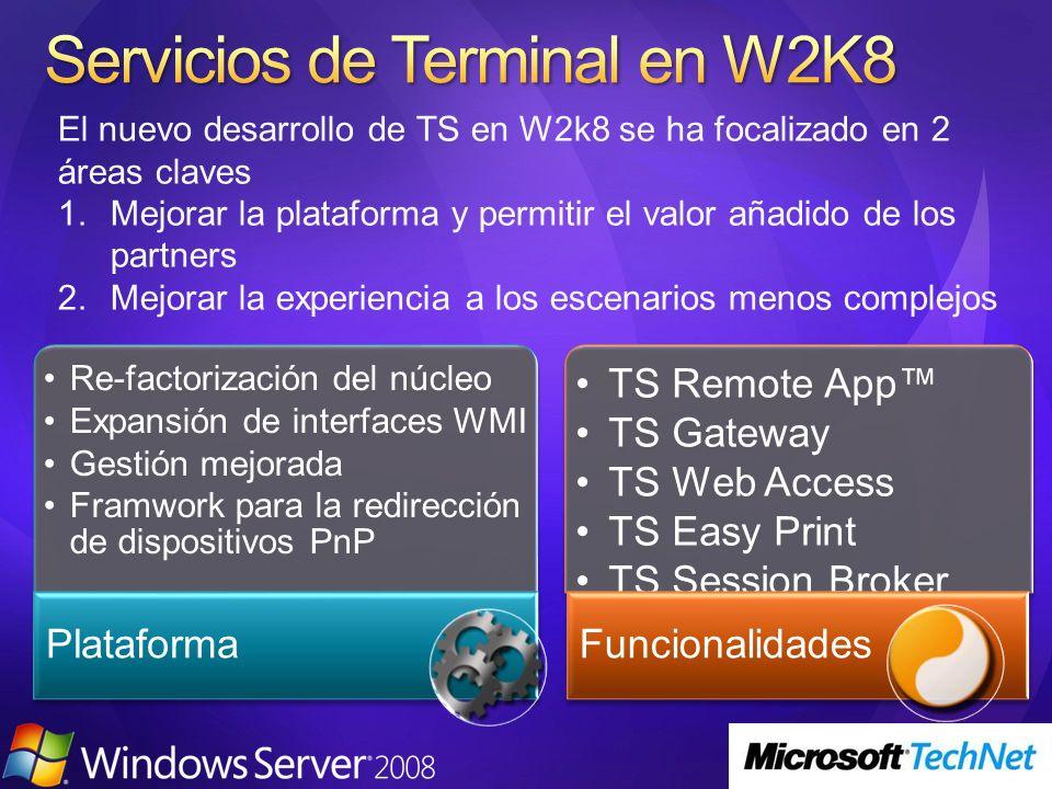 El nuevo desarrollo de TS en W2k8 se ha focalizado en 2 áreas claves 1.Mejorar la plataforma y permitir el valor añadido de los partners 2.Mejorar la