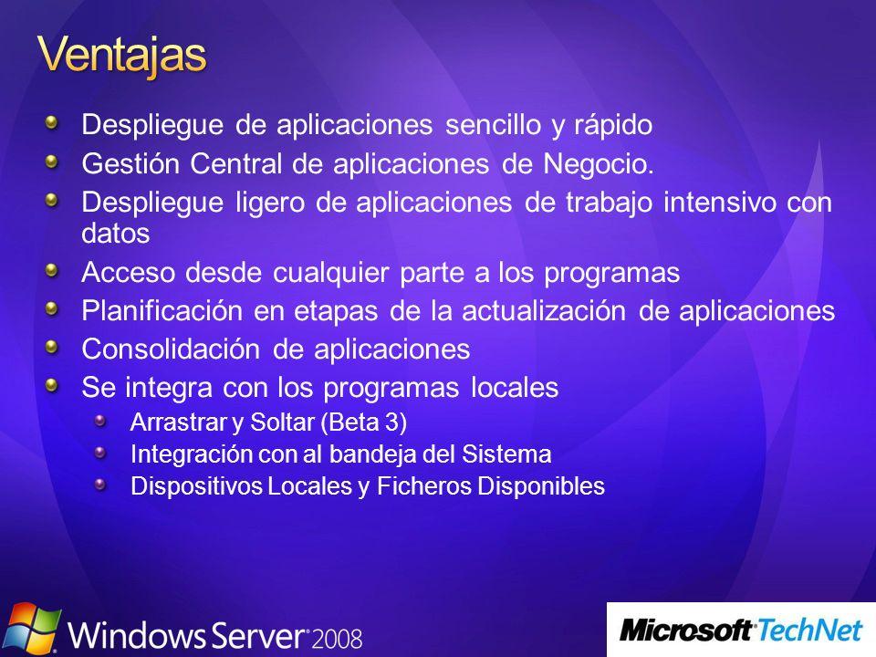 Terminal Server 11 2233 44 El usuario abre Microsoft Word via Terminal Services El documento se imprime en la impresora local TS Easy Print utiliza el driver del cliente y aparece el interface de Usuario completo para impresión.