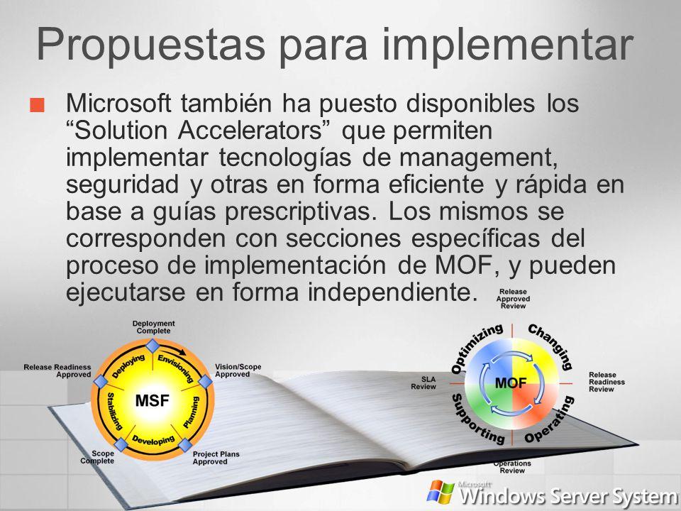 Propuestas para implementar Microsoft también ha puesto disponibles los Solution Accelerators que permiten implementar tecnologías de management, segu