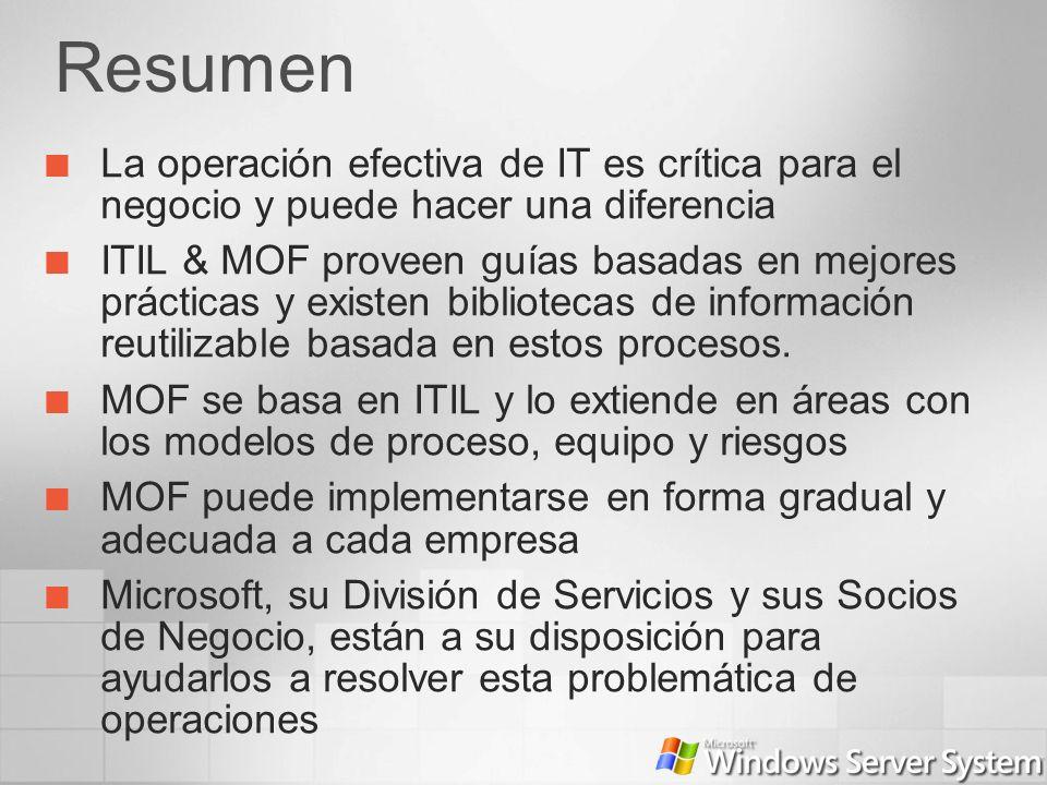 Resumen La operación efectiva de IT es crítica para el negocio y puede hacer una diferencia ITIL & MOF proveen guías basadas en mejores prácticas y ex