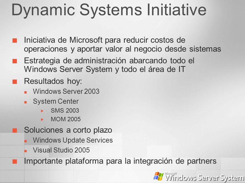 Dynamic Systems Initiative Iniciativa de Microsoft para reducir costos de operaciones y aportar valor al negocio desde sistemas Estrategia de administ