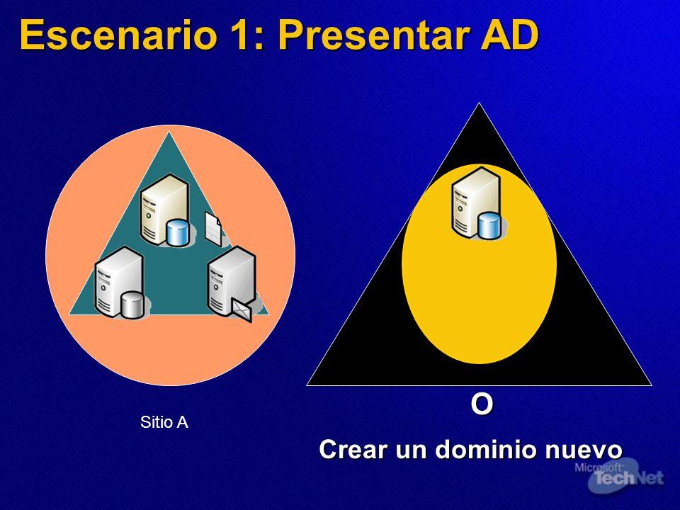Escenario 1: Presentar AD O Crear un dominio nuevo Sitio A