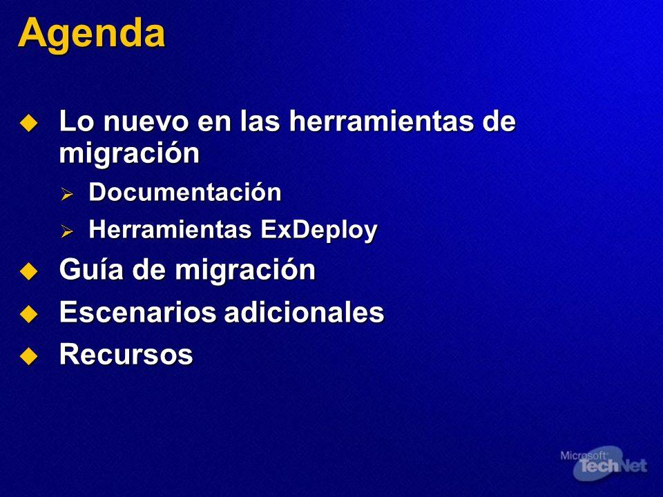 Migración interna: Paso a paso (cont.) 4.Verificar que tenga éxito la migración de buzones de correo 5.Utilizar pfmigrate para establecer réplicas PF e iniciar la duplicación a un nuevo servidor Ex2k3 6.Utilizar ESM para verificar que los Formularios OAB, Sched+ FreeBusy y Org se dupliquen en el servidor Ex2k3 7.Verificar que se duplique exitosamente el contenido PF en el servidor E2k3 8.Mover cualquier conector restante al Exchange 5.5 objetivo 9.Utilizar la Herramienta de administración de Exchange 5.5 enfocada al servidor SRS para eliminar el servidor Ex 5.5 del sitio 10.Ir al equipo ADC y forzar la duplicación en el CA de Config para el servidor SRS