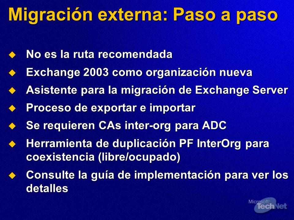 Migración externa: Paso a paso No es la ruta recomendada No es la ruta recomendada Exchange 2003 como organización nueva Exchange 2003 como organizaci