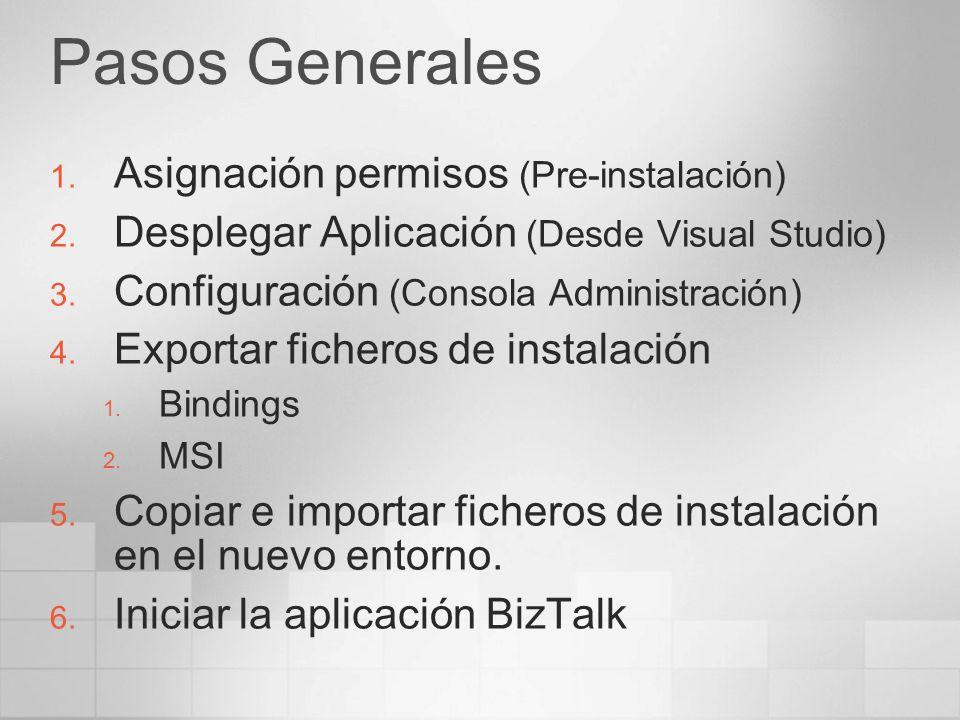 Pasos Generales 1. Asignación permisos (Pre-instalación) 2. Desplegar Aplicación (Desde Visual Studio) 3. Configuración (Consola Administración) 4. Ex
