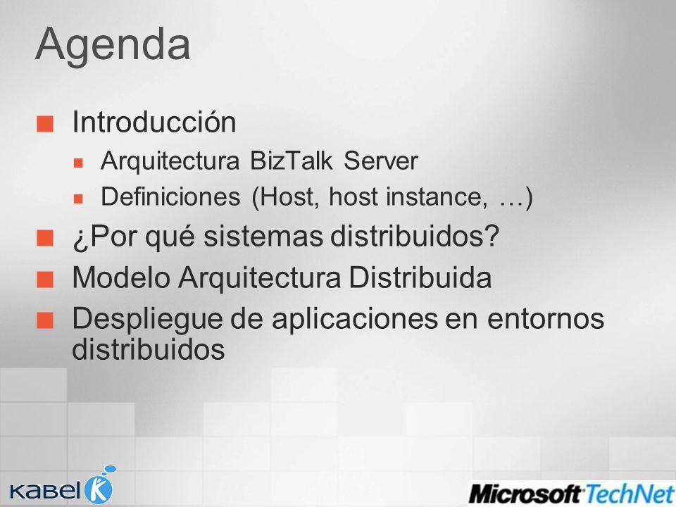 Agenda Introducción Arquitectura BizTalk Server Definiciones (Host, host instance, …) ¿Por qué sistemas distribuidos? Modelo Arquitectura Distribuida