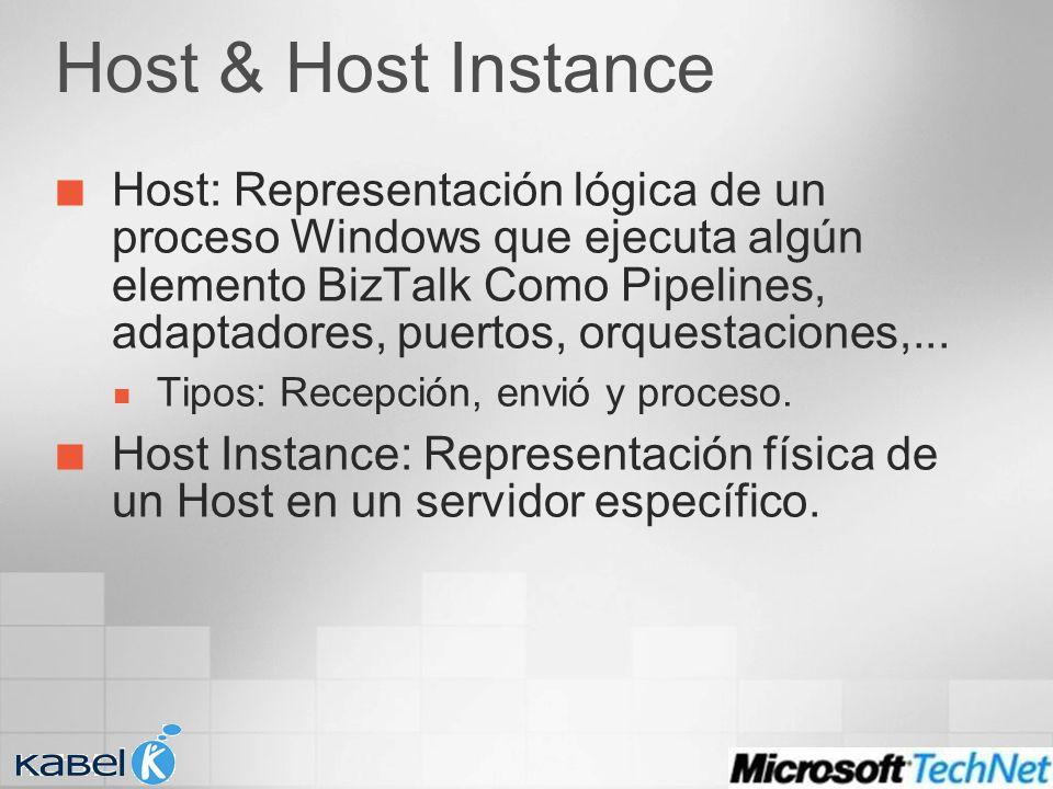Host & Host Instance Host: Representación lógica de un proceso Windows que ejecuta algún elemento BizTalk Como Pipelines, adaptadores, puertos, orques