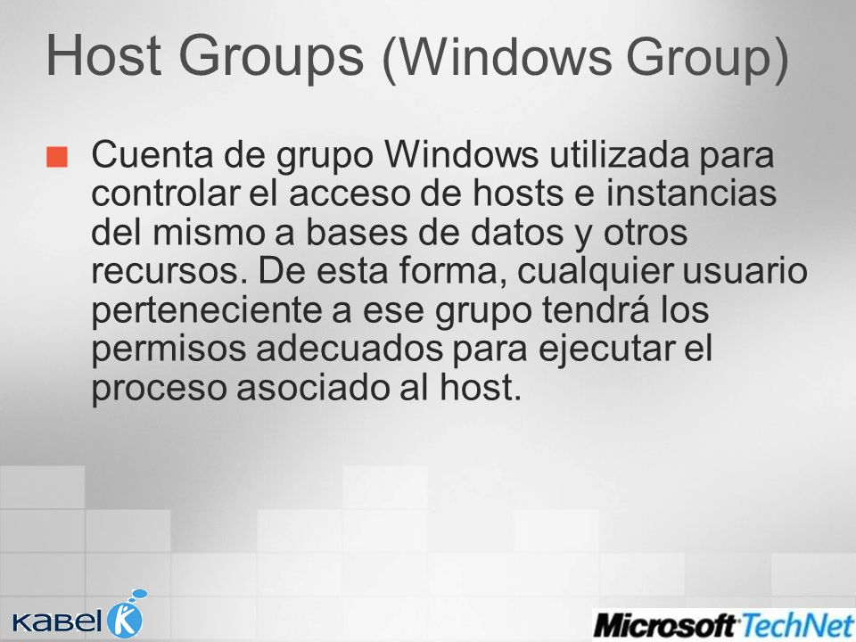 Host Groups (Windows Group) Cuenta de grupo Windows utilizada para controlar el acceso de hosts e instancias del mismo a bases de datos y otros recurs