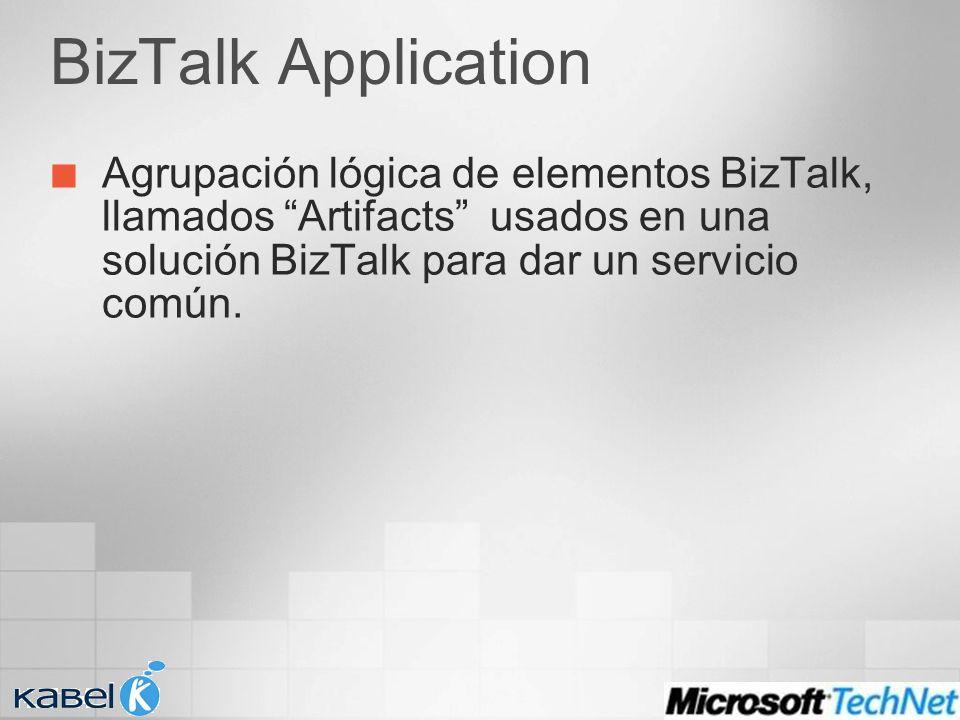 BizTalk Application Agrupación lógica de elementos BizTalk, llamados Artifacts usados en una solución BizTalk para dar un servicio común.
