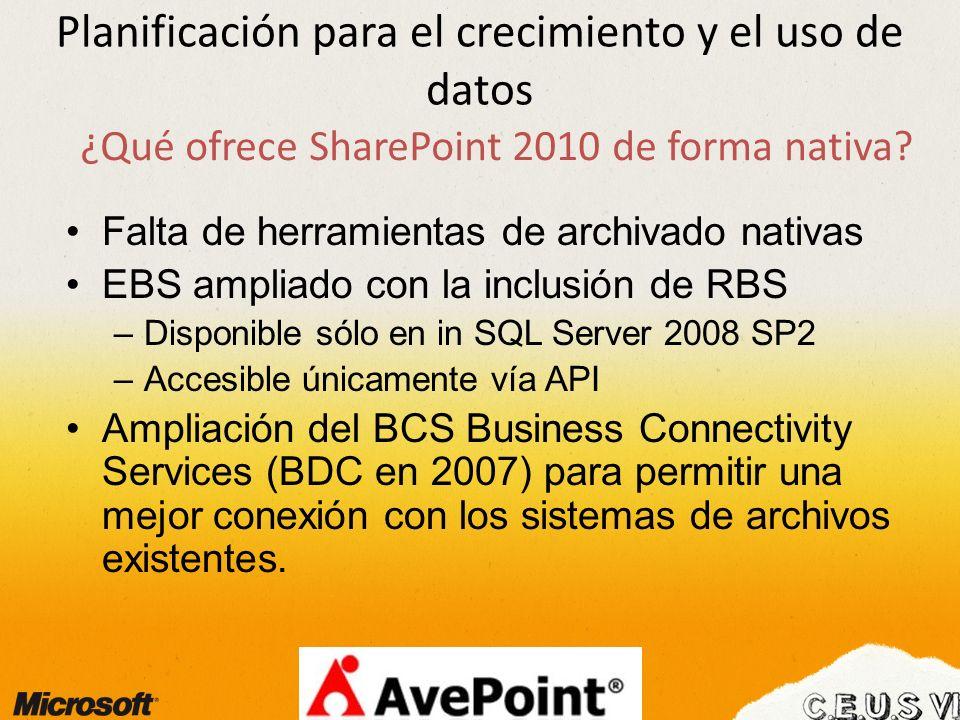Planificación para el crecimiento y el uso de datos ¿Qué ofrece SharePoint 2010 de forma nativa.