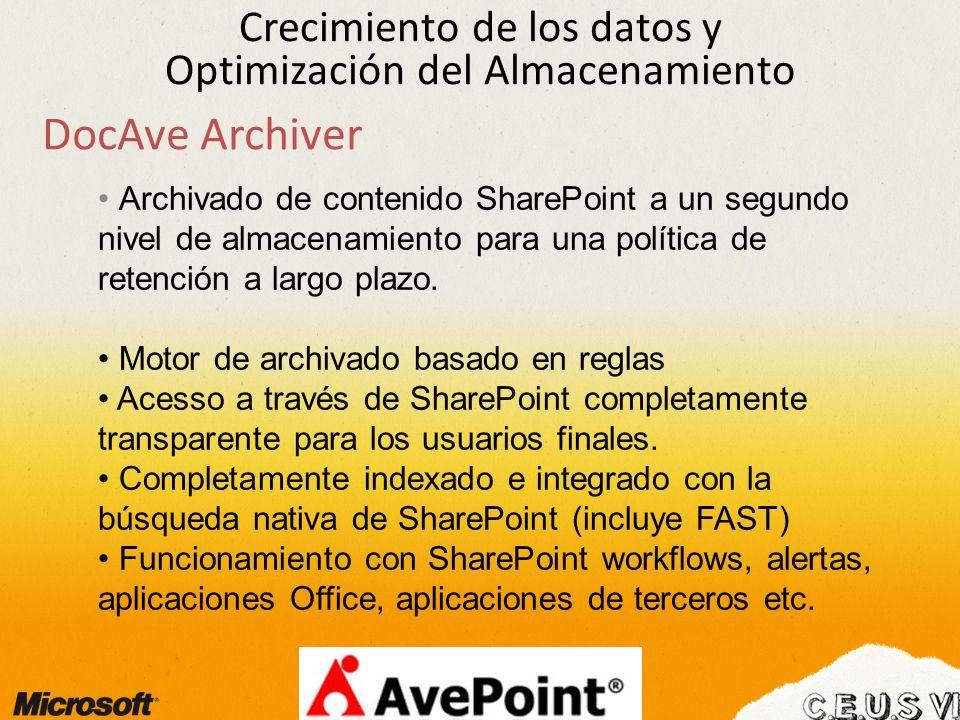 Crecimiento de los datos y Optimización del Almacenamiento Archivado de contenido SharePoint a un segundo nivel de almacenamiento para una política de retención a largo plazo.