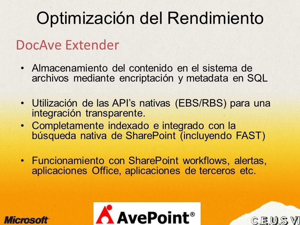 Optimización del Rendimiento DocAve Extender Almacenamiento del contenido en el sistema de archivos mediante encriptación y metadata en SQL Utilización de las APIs nativas (EBS/RBS) para una integración transparente.