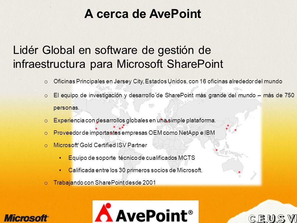 A cerca de AvePoint Lidér Global en software de gestión de infraestructura para Microsoft SharePoint o Oficinas Principales en Jersey City, Estados Unidos, con 16 oficinas alrededor del mundo o El equipo de investigación y desarrollo´de SharePoint más grande del mundo – más de 750 personas.