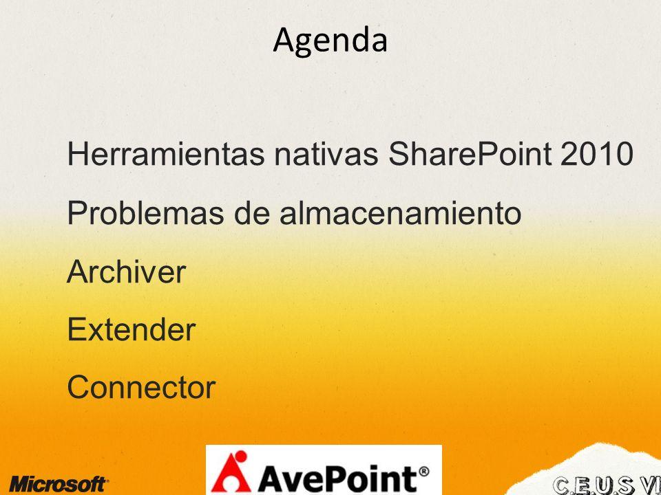 Agenda Herramientas nativas SharePoint 2010 Problemas de almacenamiento Archiver Extender Connector