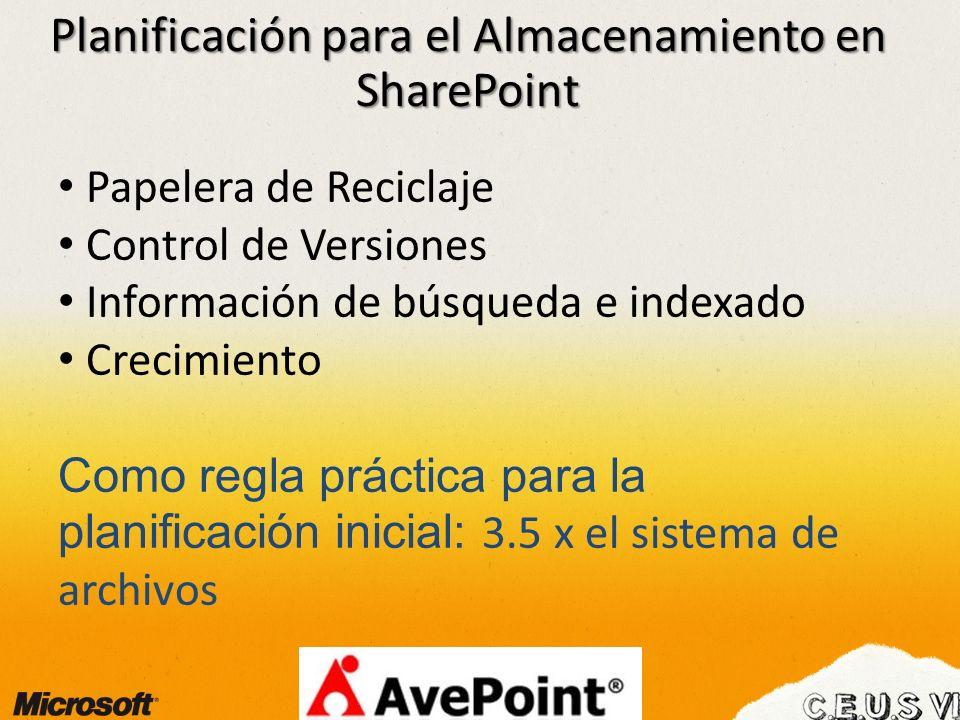 Planificación para el Almacenamiento en SharePoint Papelera de Reciclaje Control de Versiones Información de búsqueda e indexado Crecimiento Como regla práctica para la planificación inicial: 3.5 x el sistema de archivos