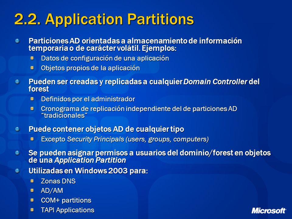 2.2. Application Partitions Particiones AD orientadas a almacenamiento de información temporaria o de carácter volátil. Ejemplos: Datos de configuraci