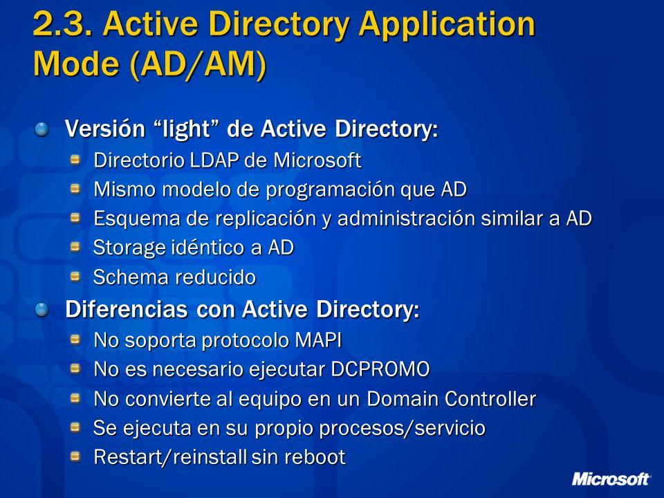 2.3. Active Directory Application Mode (AD/AM) Versión light de Active Directory: Directorio LDAP de Microsoft Mismo modelo de programación que AD Esq