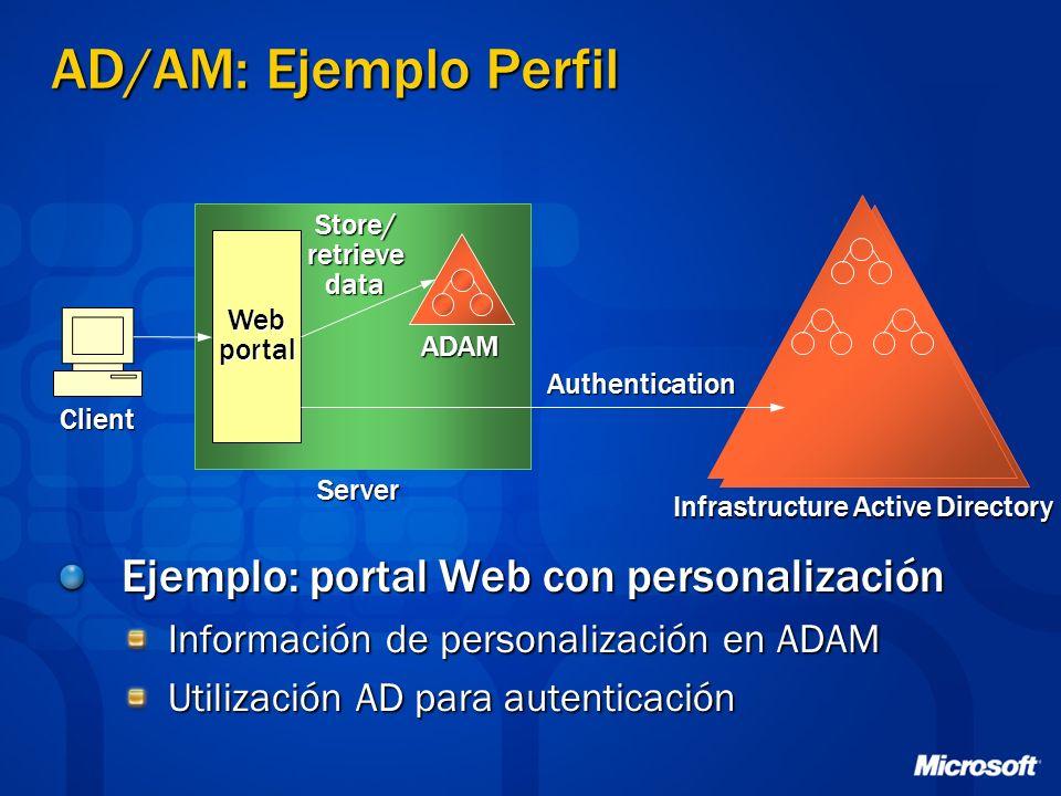 Ejemplo: portal Web con personalización Información de personalización en ADAM Utilización AD para autenticación ADAM Infrastructure Active Directory Webportal Store/retrievedata Client Authentication Server AD/AM: Ejemplo Perfil