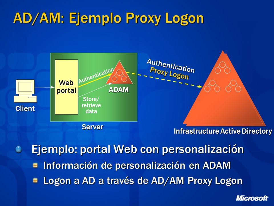 Ejemplo: portal Web con personalización Información de personalización en ADAM Logon a AD a través de AD/AM Proxy Logon ADAM Infrastructure Active Directory Webportal Store/ retrieve data Client Authentication Proxy Logon Server AD/AM: Ejemplo Proxy Logon Authentication