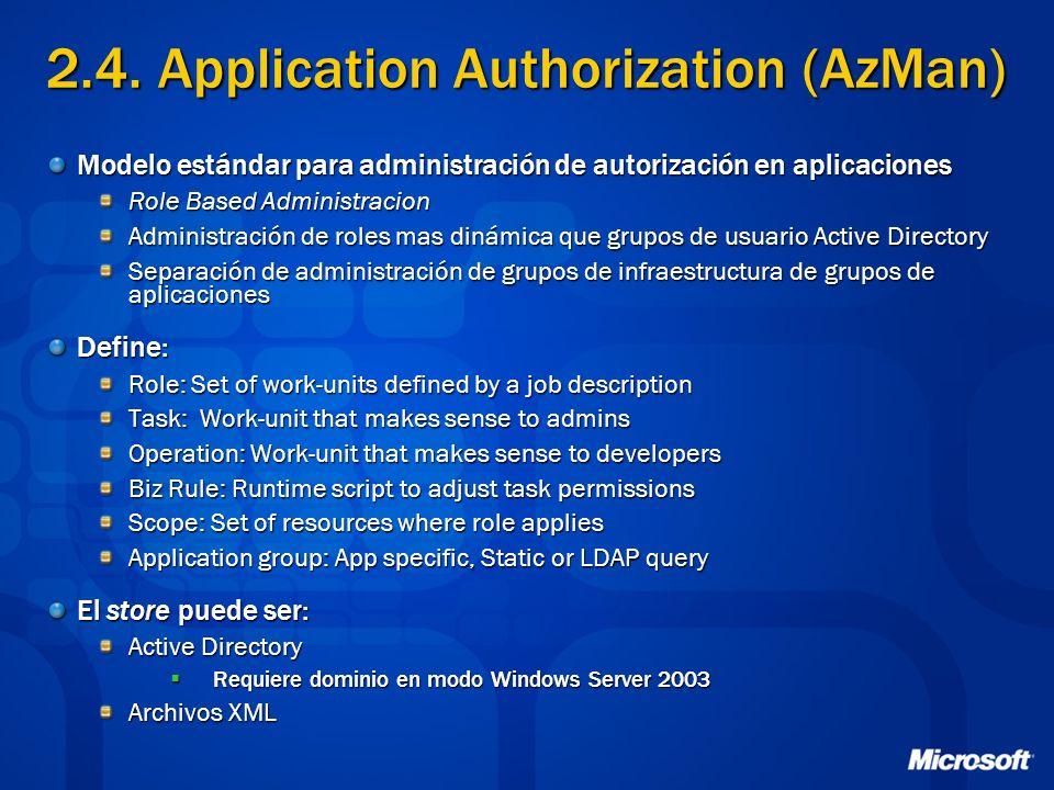 2.4. Application Authorization (AzMan) Modelo estándar para administración de autorización en aplicaciones Role Based Administracion Administración de