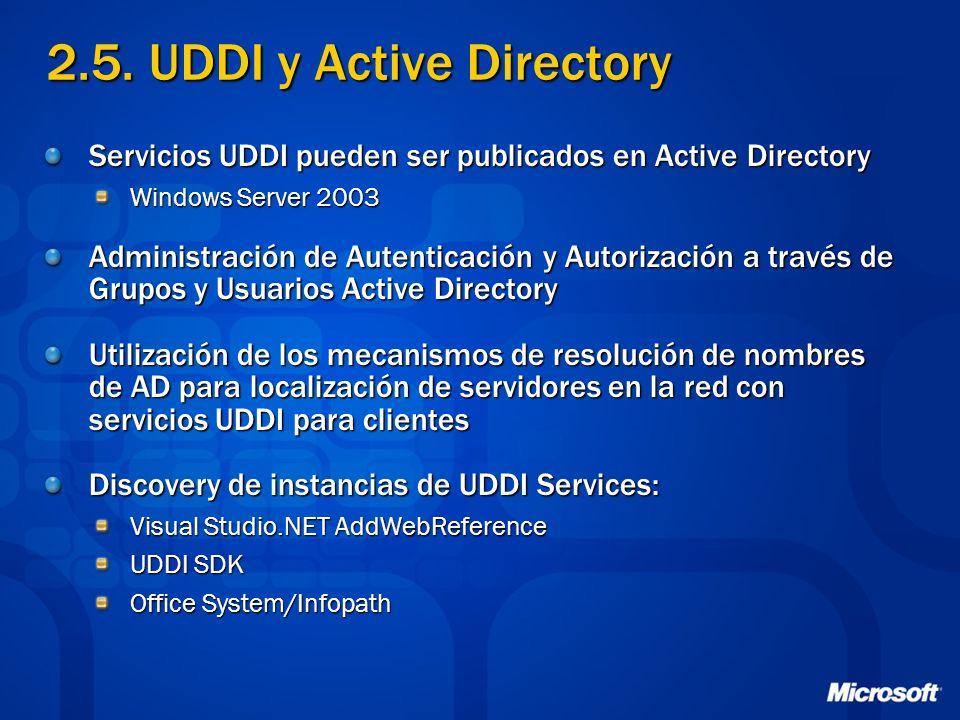 2.5. UDDI y Active Directory Servicios UDDI pueden ser publicados en Active Directory Windows Server 2003 Administración de Autenticación y Autorizaci