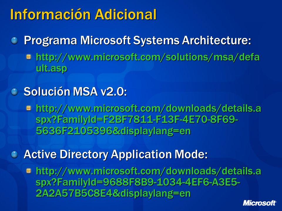 Información Adicional Programa Microsoft Systems Architecture: http://www.microsoft.com/solutions/msa/defa ult.asp Solución MSA v2.0: http://www.micro