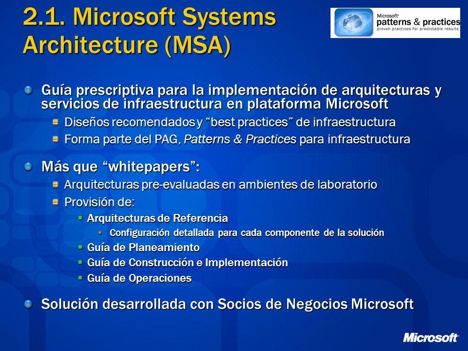 2.1. Microsoft Systems Architecture (MSA) Guía prescriptiva para la implementación de arquitecturas y servicios de infraestructura en plataforma Micro
