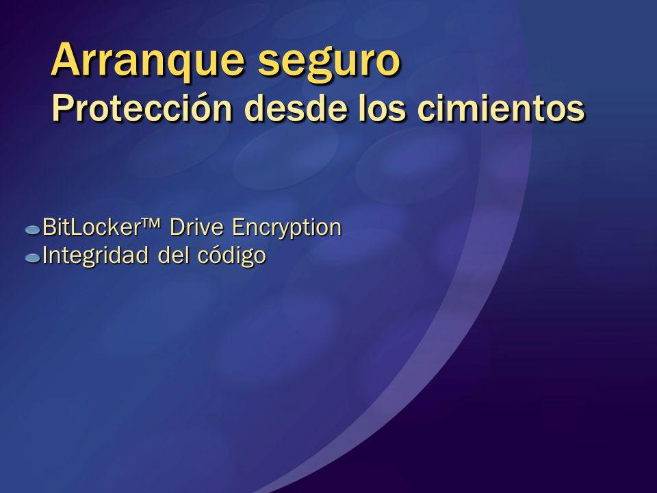 Arranque seguro Protección desde los cimientos BitLocker Drive Encryption Integridad del código