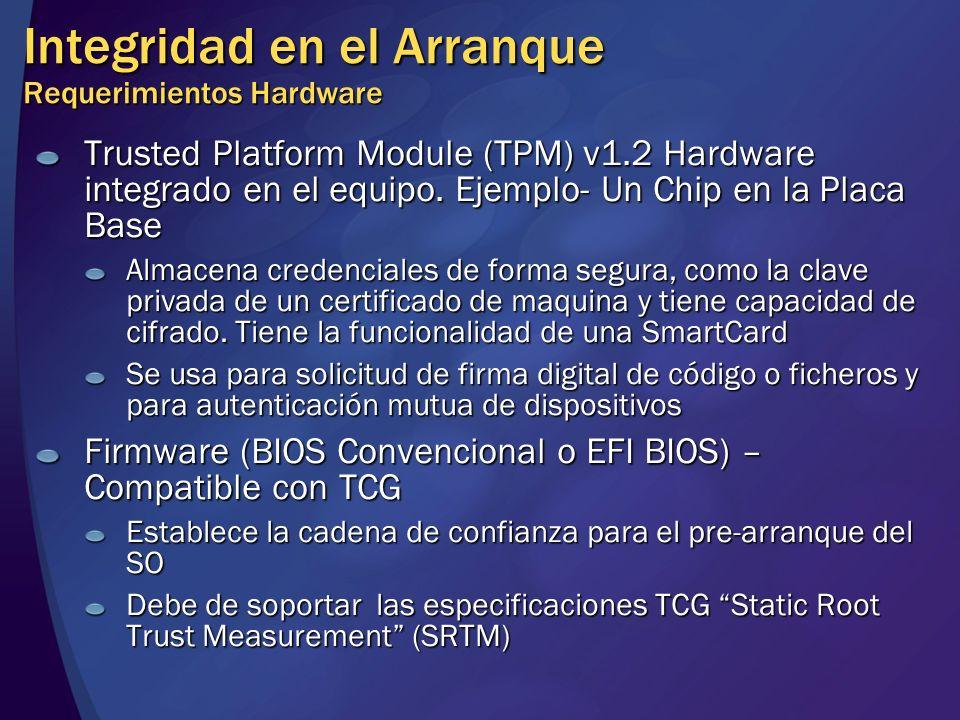 Integridad en el Arranque Requerimientos Hardware Trusted Platform Module (TPM) v1.2 Hardware integrado en el equipo. Ejemplo- Un Chip en la Placa Bas