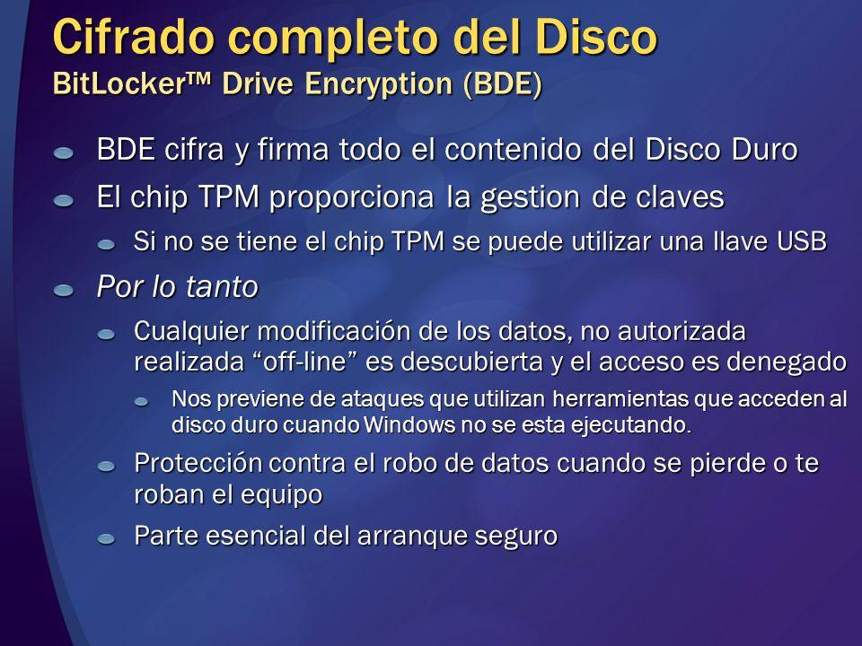 Cifrado completo del Disco BitLocker Drive Encryption (BDE) BDE cifra y firma todo el contenido del Disco Duro El chip TPM proporciona la gestion de c