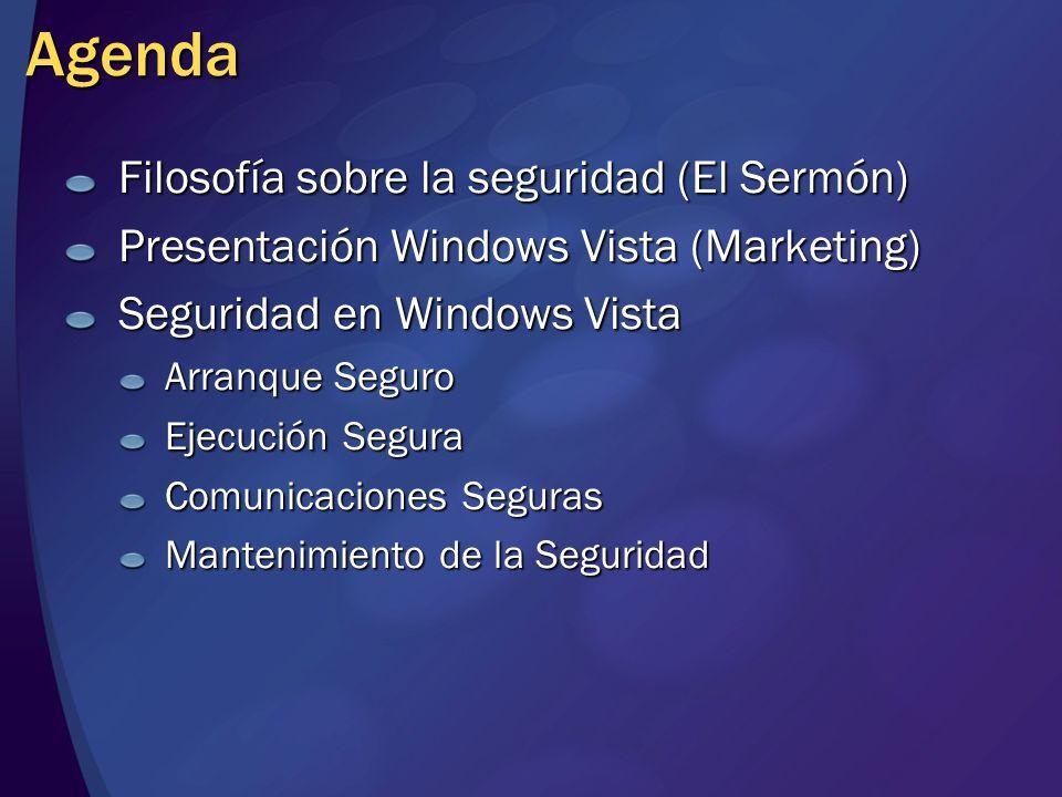 Agenda Filosofía sobre la seguridad (El Sermón) Presentación Windows Vista (Marketing) Seguridad en Windows Vista Arranque Seguro Ejecución Segura Com