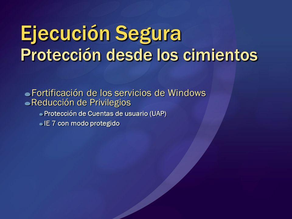 Ejecución Segura Protección desde los cimientos Fortificación de los servicios de Windows Reducción de Privilegios Protección de Cuentas de usuario (U