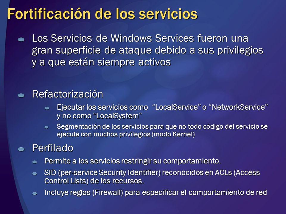 Fortificación de los servicios Los Servicios de Windows Services fueron una gran superficie de ataque debido a sus privilegios y a que están siempre a