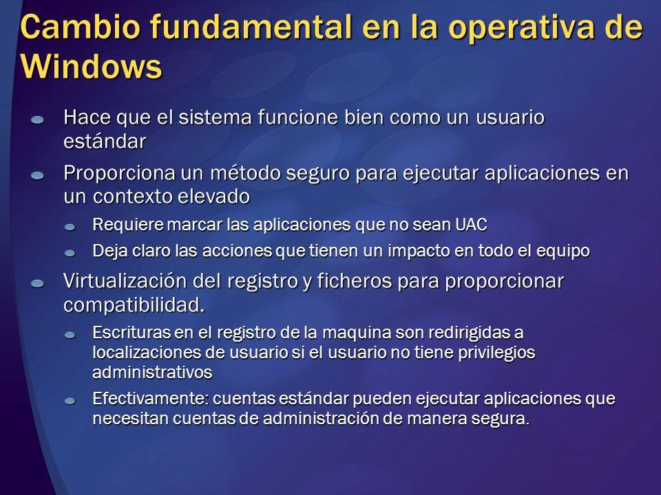 Cambio fundamental en la operativa de Windows Hace que el sistema funcione bien como un usuario estándar Proporciona un método seguro para ejecutar ap