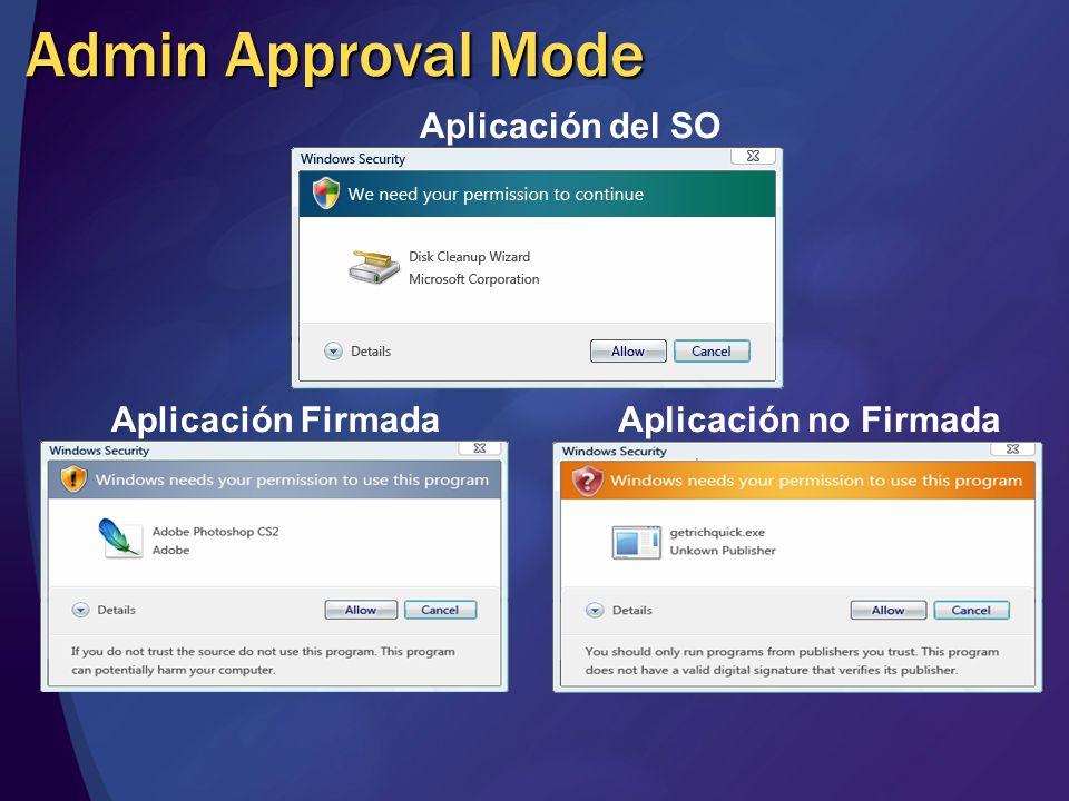 Admin Approval Mode Aplicación del SO Aplicación FirmadaAplicación no Firmada