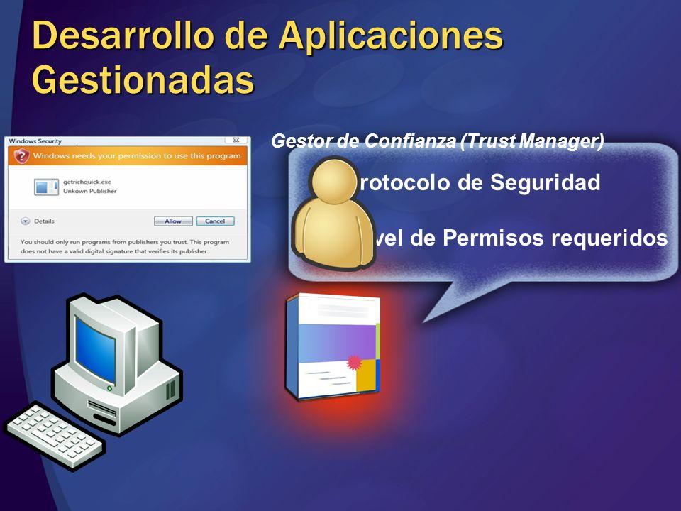 Protocolo de Seguridad Nivel de Permisos requeridos Desarrollo de Aplicaciones Gestionadas Gestor de Confianza (Trust Manager)